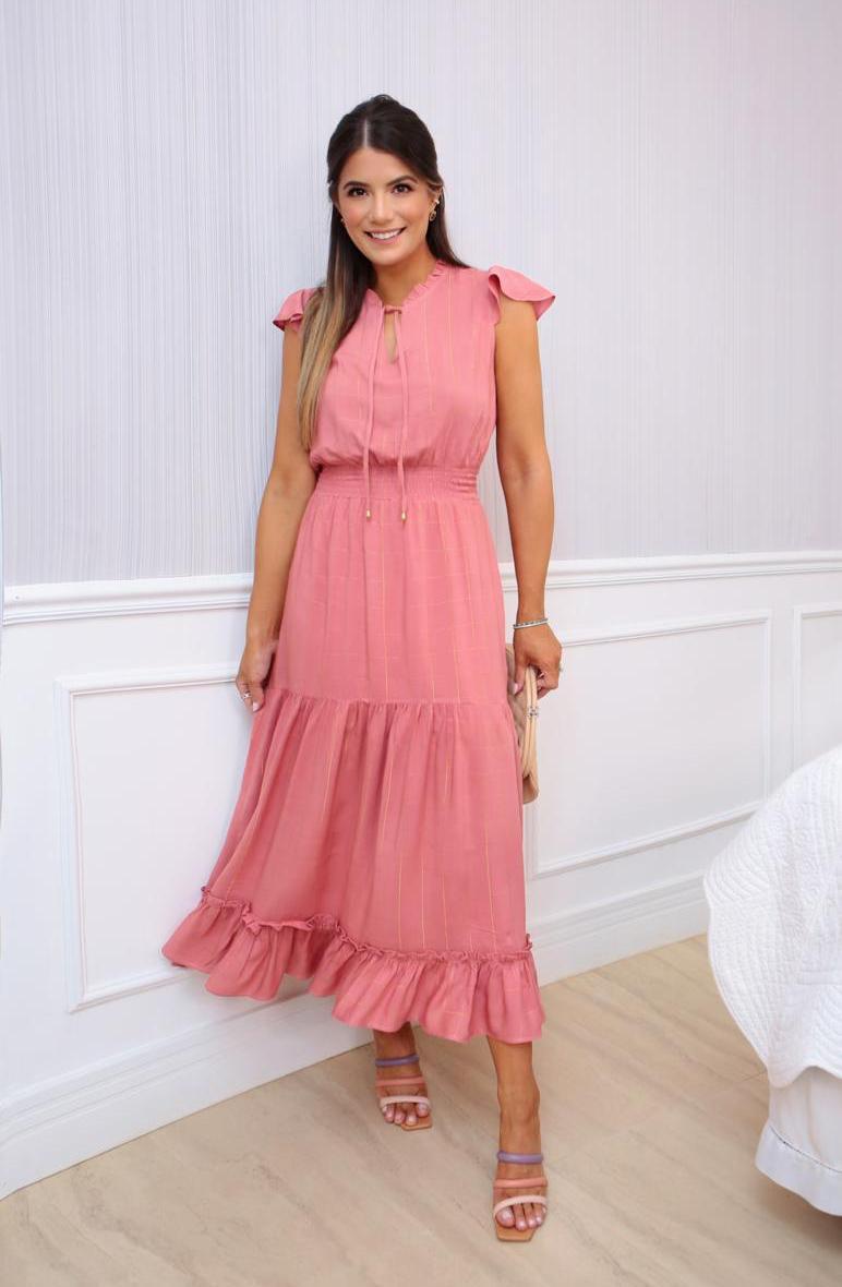 Vestido Ariane Viscose Fio de Lurex
