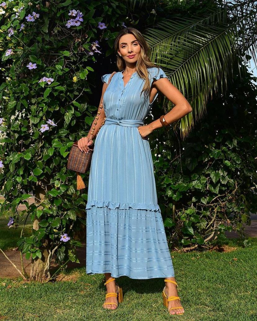 Vestido Ariane Viscose Jacquard Listra Trançada