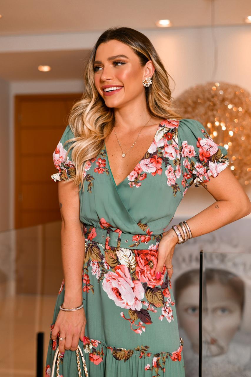 Vestido Ariela Crepe Floral + Cinto
