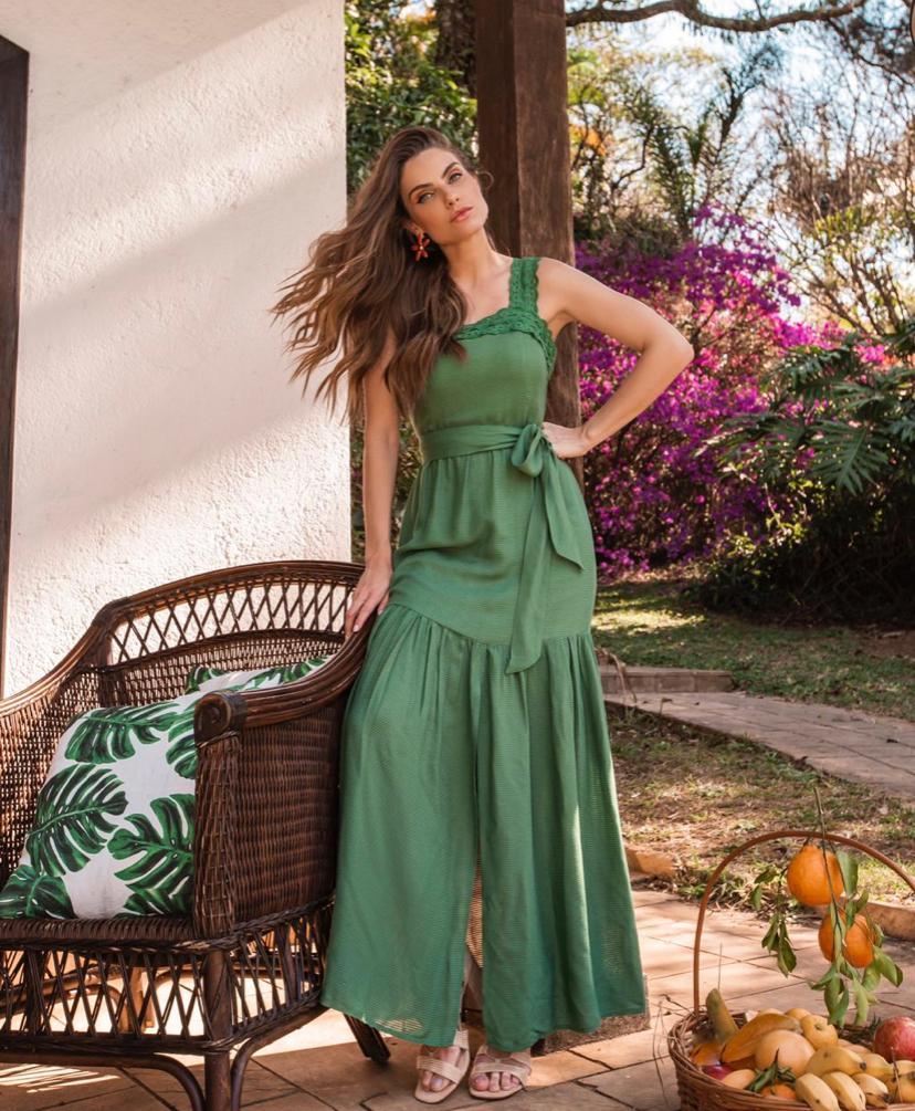 Vestido Astrid Viscocrepe  Detalhe em Renda C/Faixa
