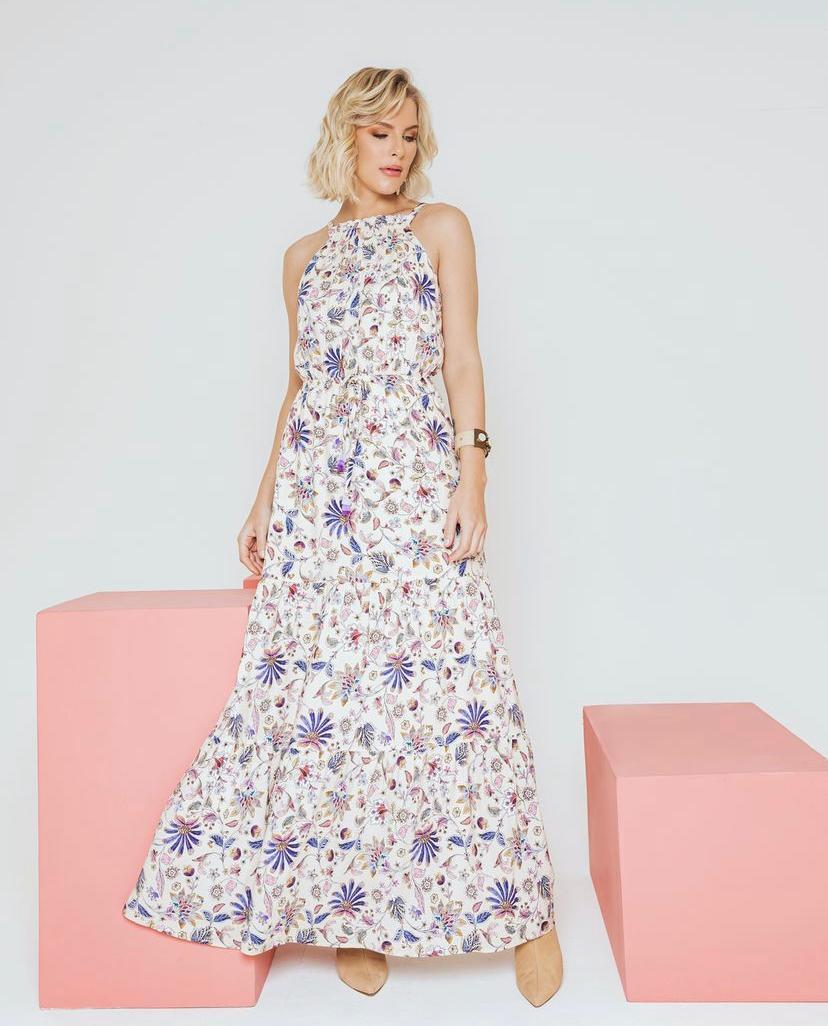 Vestido Aurora Floral Longo Viscose