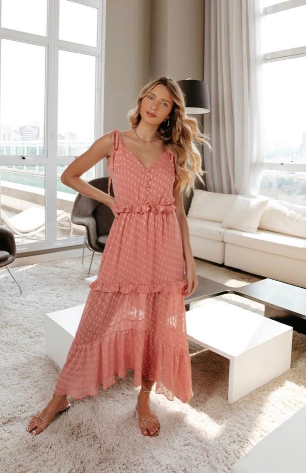 Vestido Beatriz Crepe Chiffon Fio Lurex