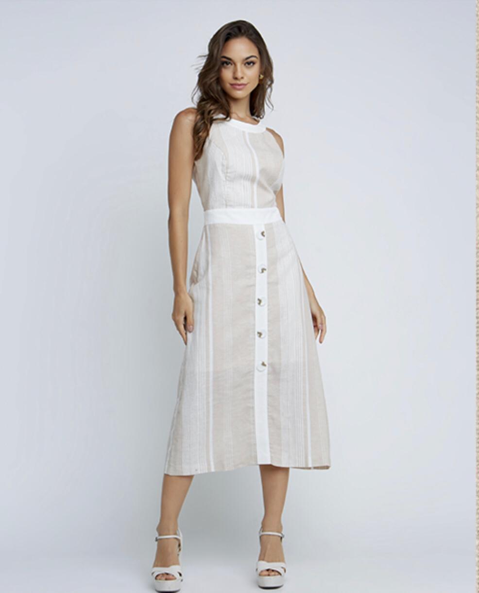 Vestido Belgica Linho Midi