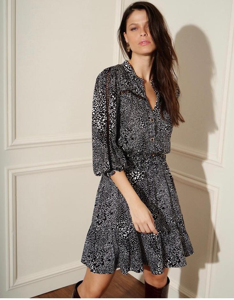 Vestido Betina Viscose Twill Manga Longa Detalhe lastex