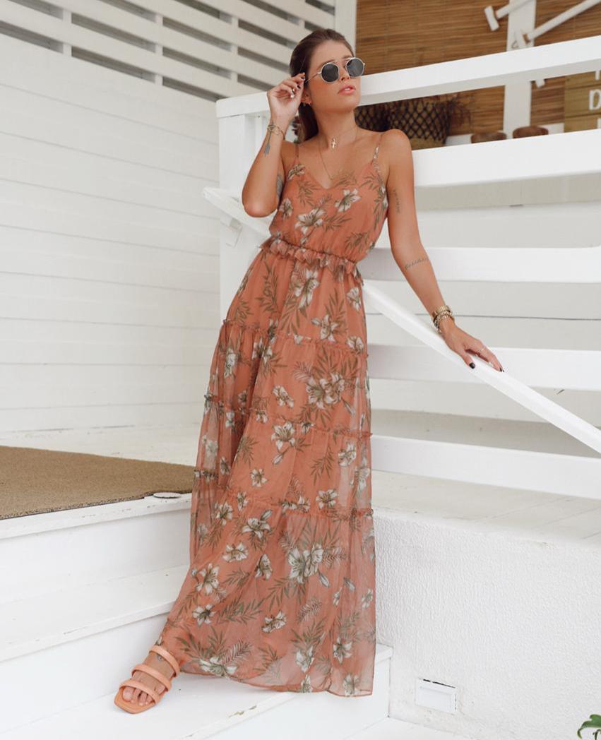 Vestido Gabriela Chiffon Floral  Alças Reguláveis