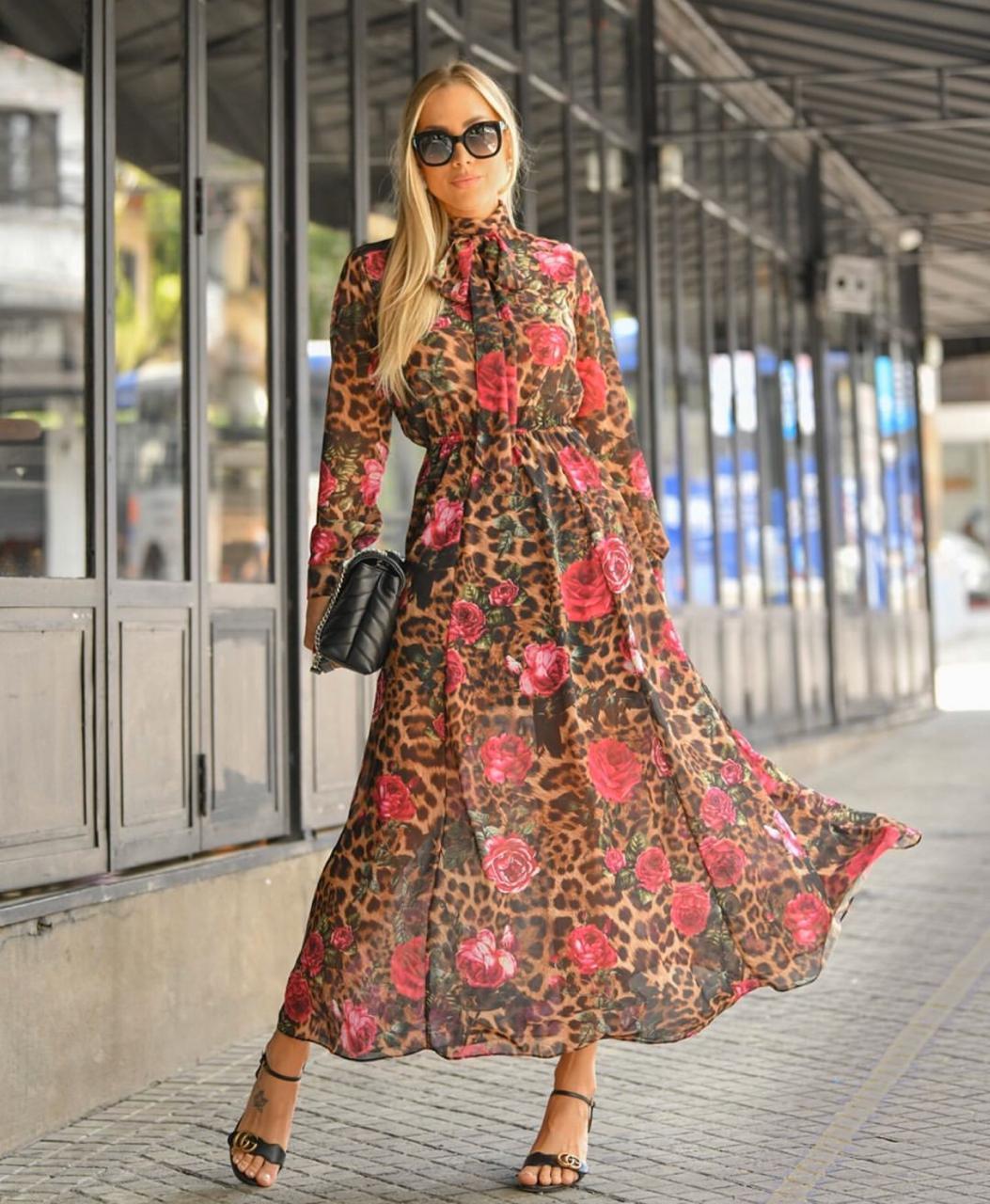 Vestido Bruna Crepe Floral Onça