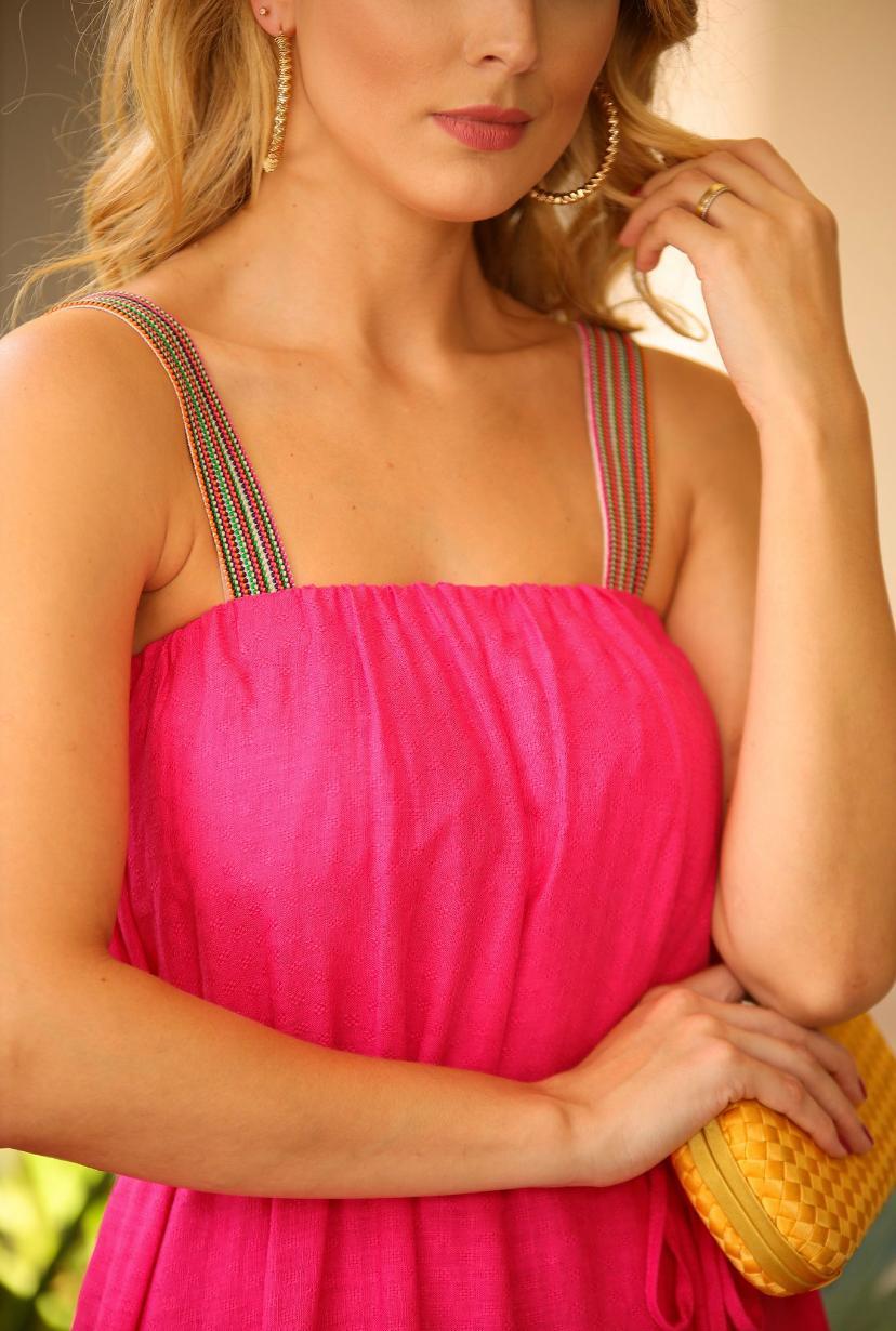 Vestido Bruna Viscolinho Alça Elastico Colorido (Forro)