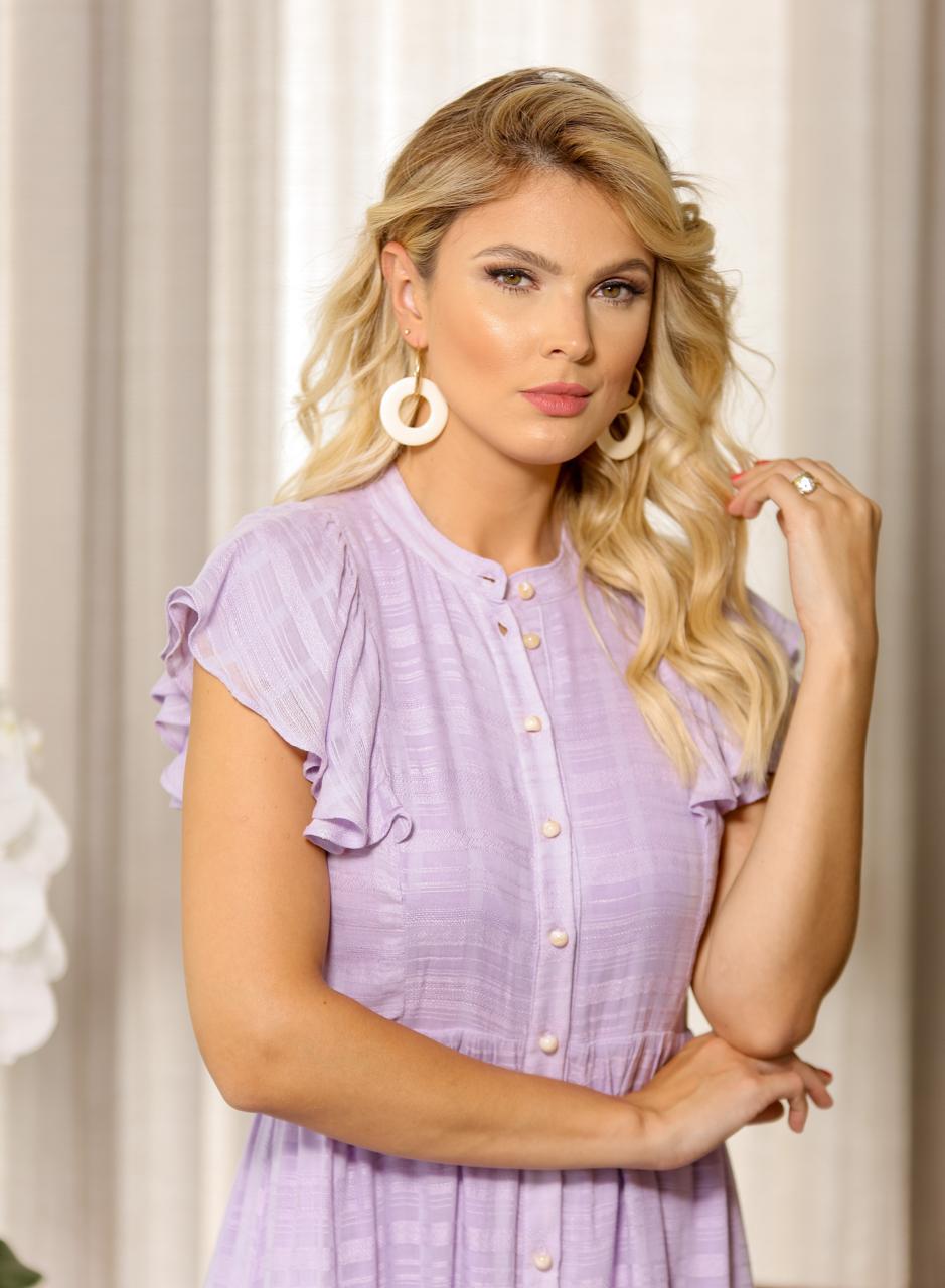 Vestido Brunnet 58% Viscose 42% Algodão Detalhe Babado/Botões