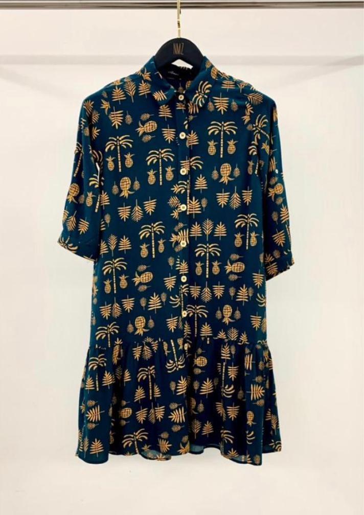 Vestido Palle Chemise 100% Viscose Estampa Abacaxi Com Abotoamento Frontal