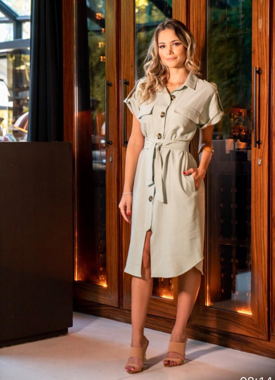 Vestido  Chemise Amy com faixa Cores :Off,oliva e marinho