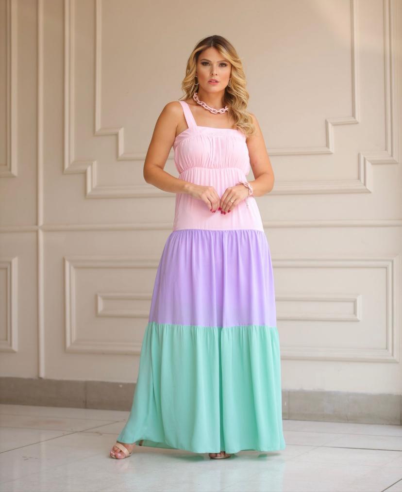 Vestido Cheroy Longo Decote Quadrado Chifon Em Double