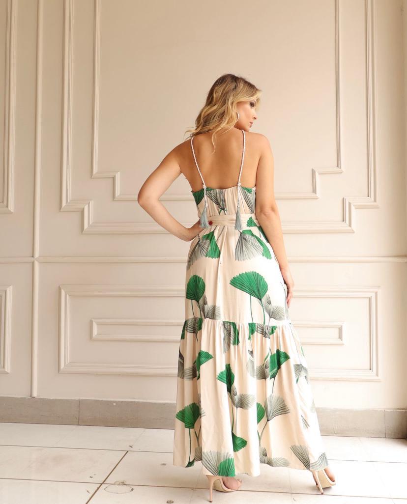 Vestido Cheroy Longo Em Viscose Palmeira Leque