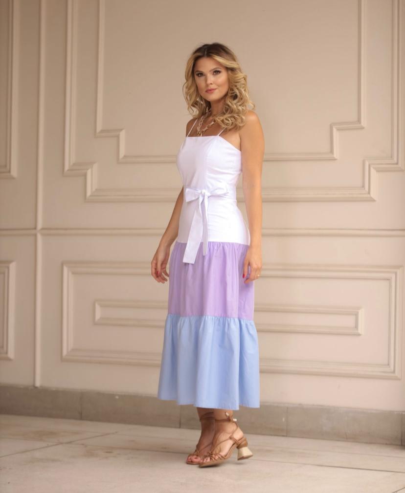 Vestido Cheroy Longo Tricolor Em Tricoline Cotton