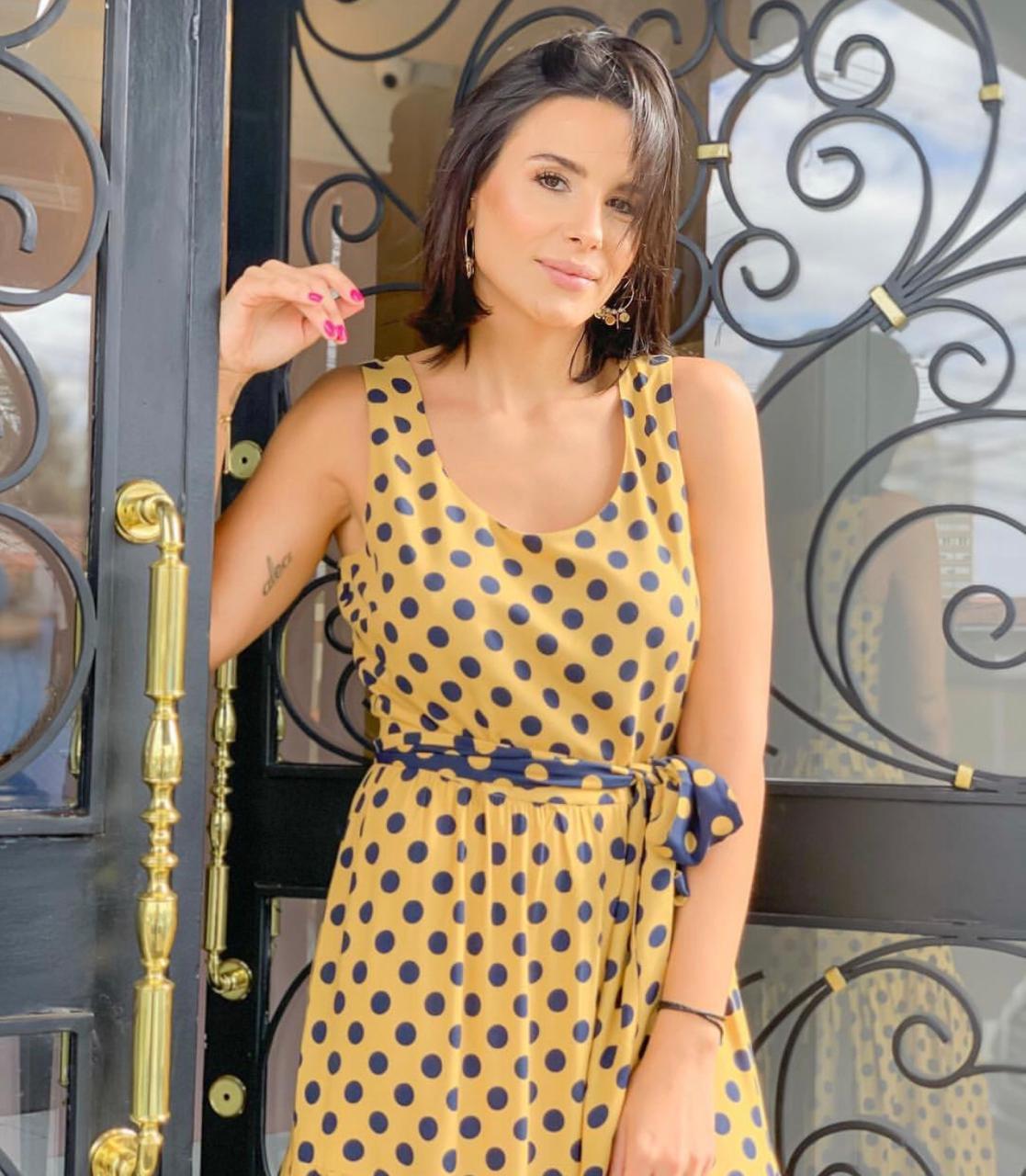 Vestido Cheroy  Longo Viscose New Poa Marinho C/ Faixa