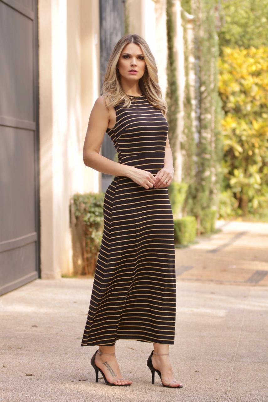 Vestido  Cheroy  Malha Gloss  Stripe