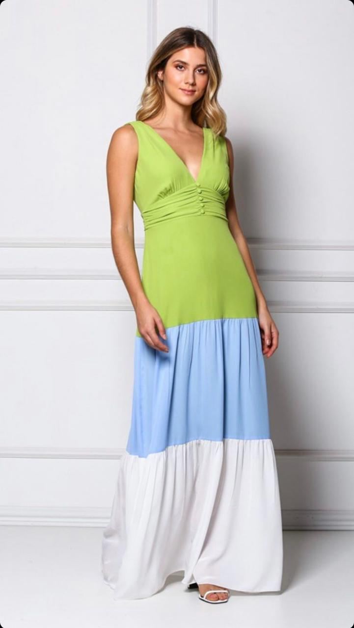 Vestido Cheroy Viscose Color Block
