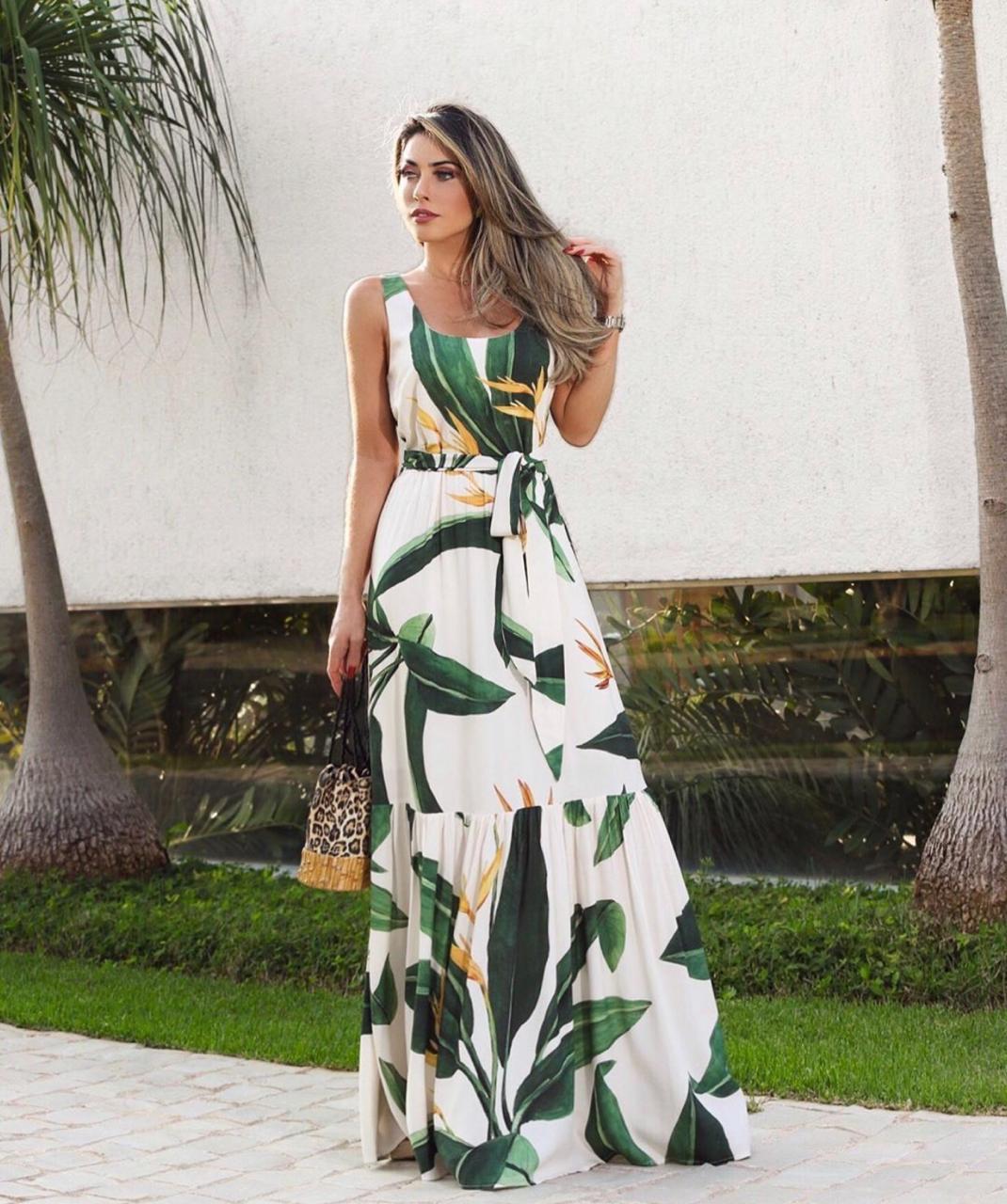 Vestido  Cheroy Floresta Viscose  + Faixa
