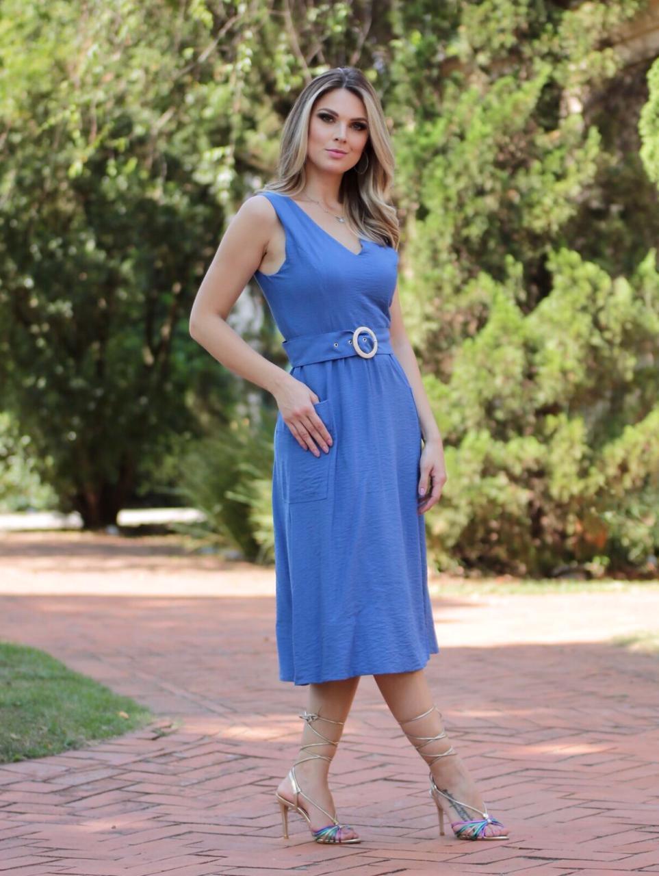 Vestido  Caroline Cheroy Visco   Max Bolsos + Cinto