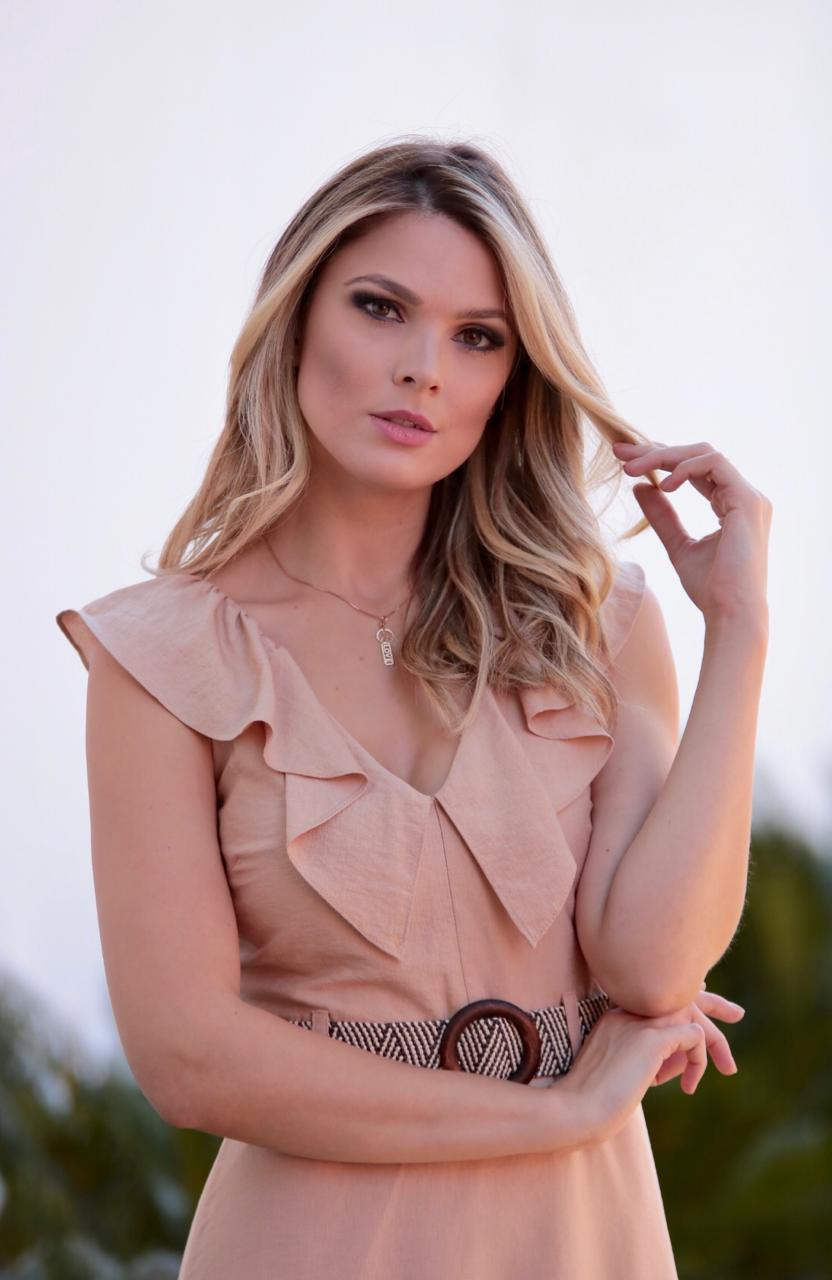 Vestido Cheroy  Viscocrepe Decote V + Cinto