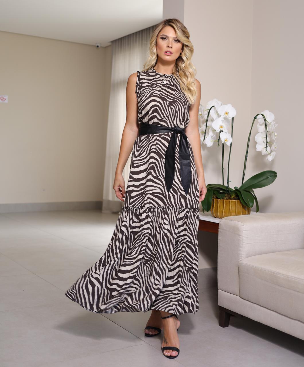 Vestido Cheroy Viscose Safari Zebra Detalhe Franzido C/ Cinto em Couro Eco