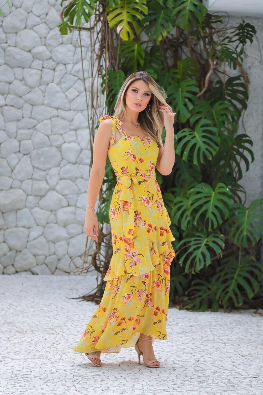 Vestido Cindy  Crepe Longo Floral c/ Fenda + Faixa