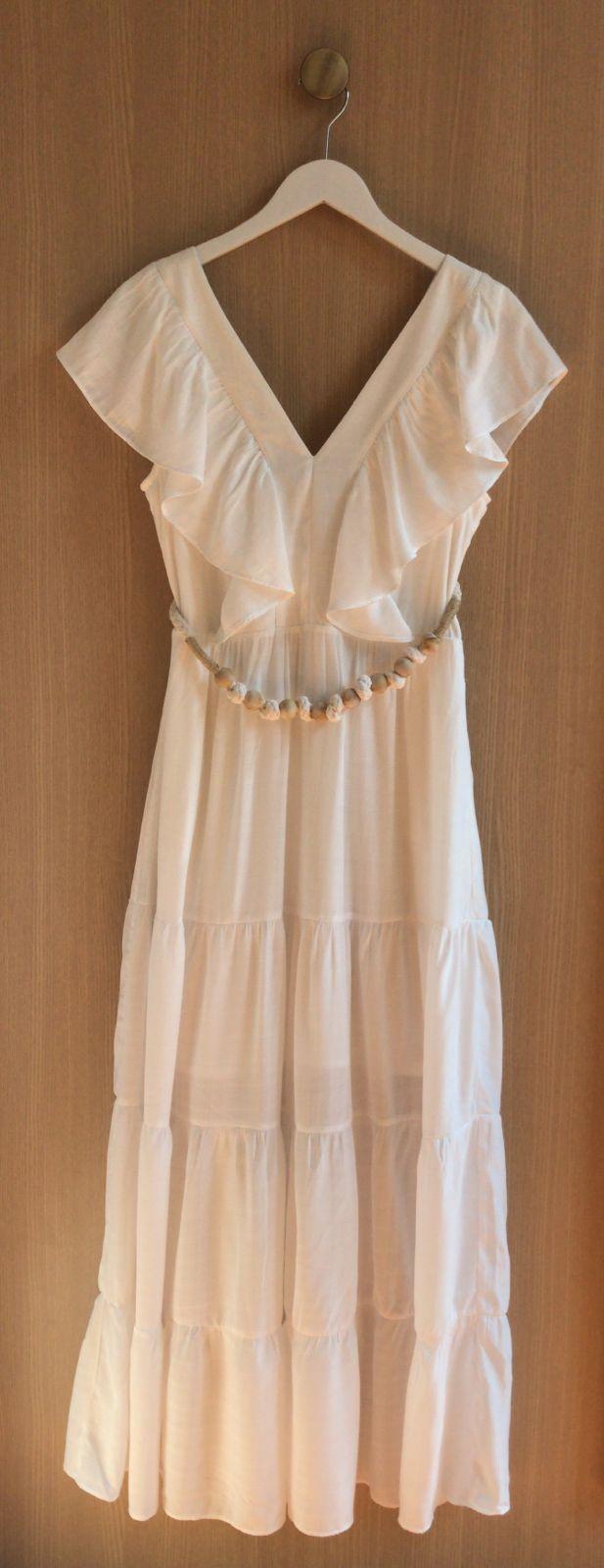 Vestido Clemence Viscocrepe (Forro) Detakhe Babados + Cinto Corda