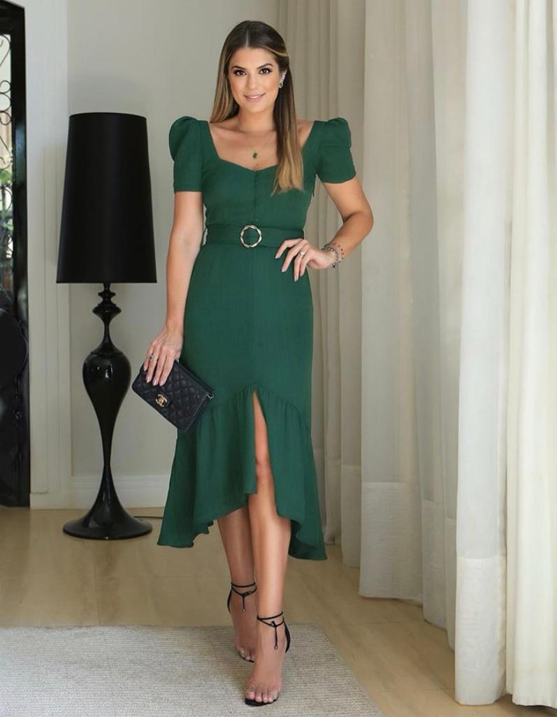 Vestido Ariane Crepe Com Textura Midi fivela Dourada C/Cinto