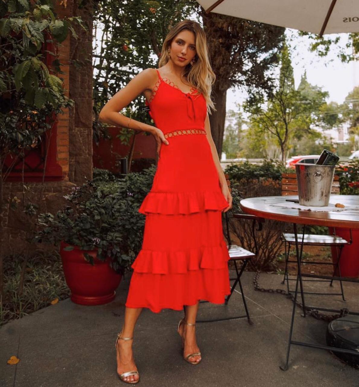 Vestido  Marcela Crepe de Alcinha Laço na frente detalhe transparência na cintura