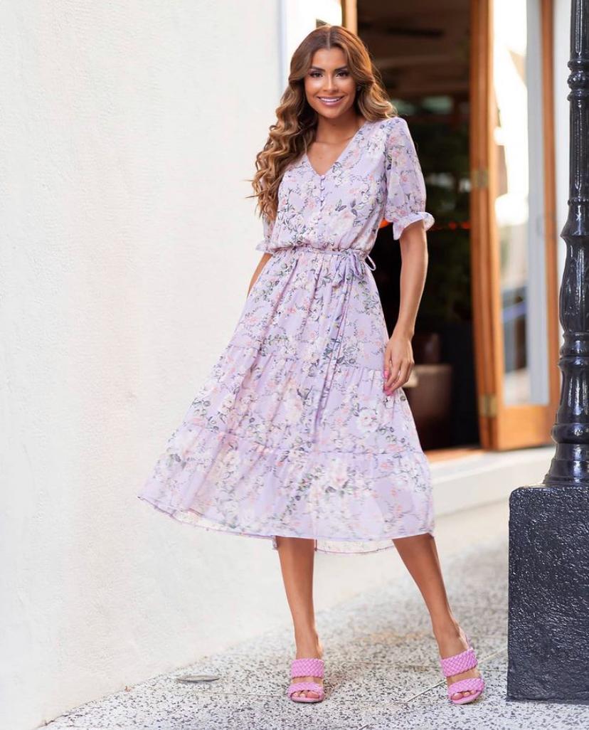 Vestido Marcela Crepe Floral Midi com  Faixa
