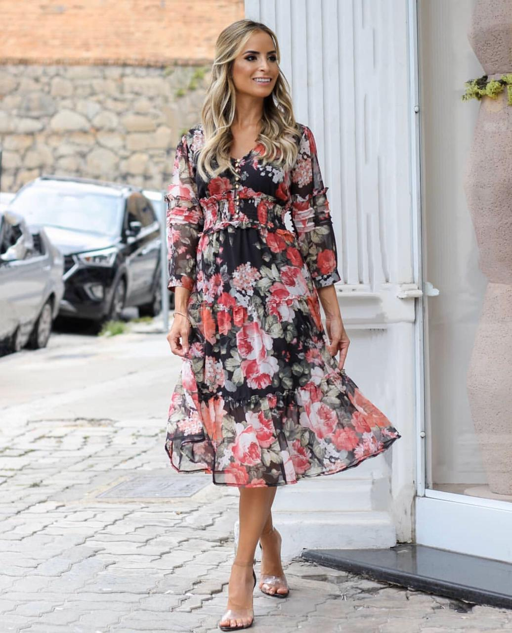 Vestido Fernanda Crepe Midi Floral Com Botões