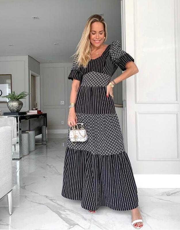 Vestido Daniela  Crepe Mix Listras