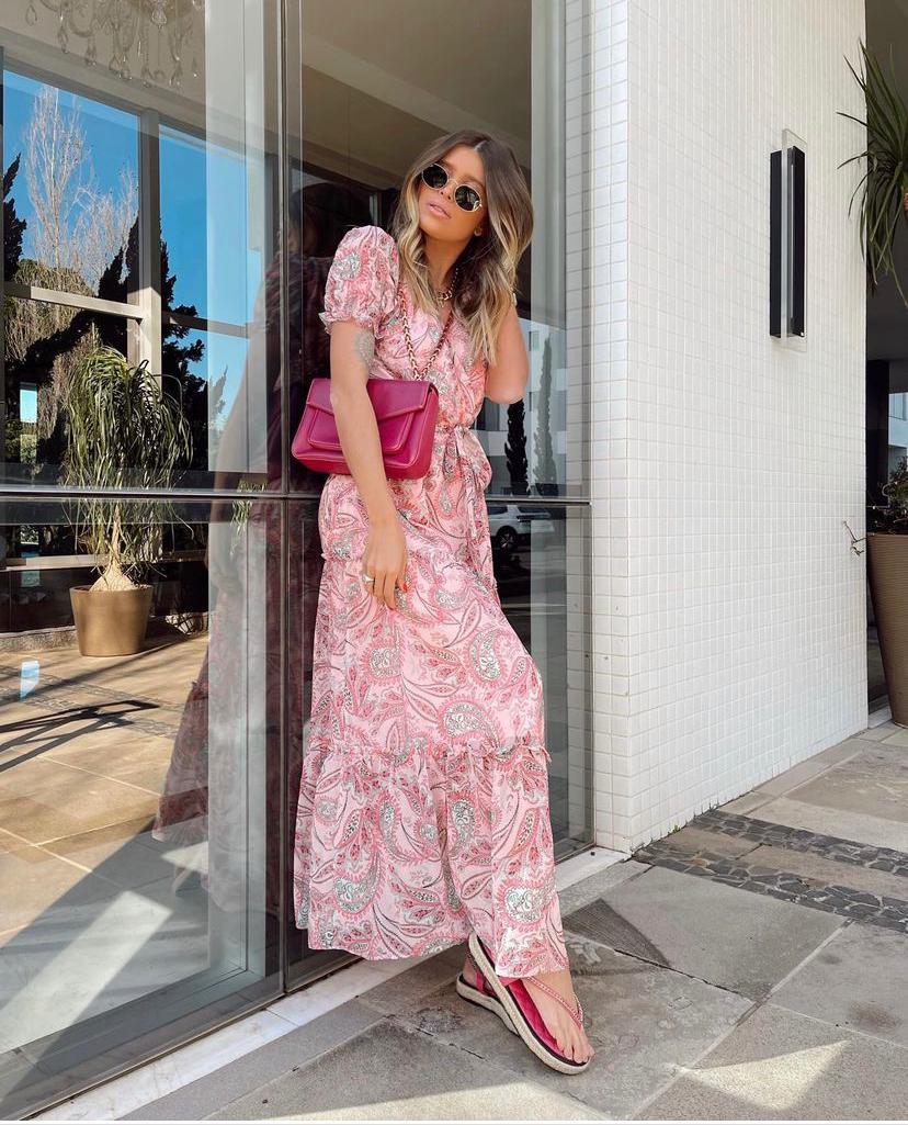 Vestido  Louise Crepe Paisley Detalhe Transpasse Faixa