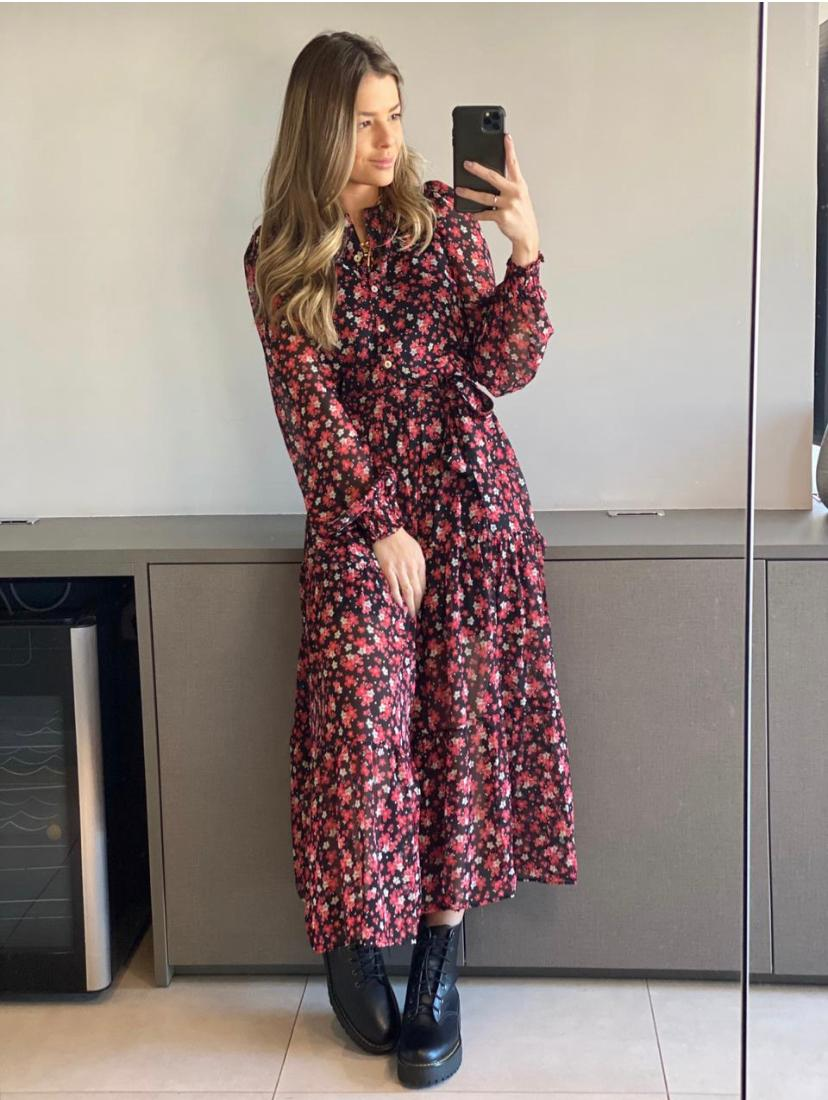 Vestido Dafne Crepe Floral C/ Faixa