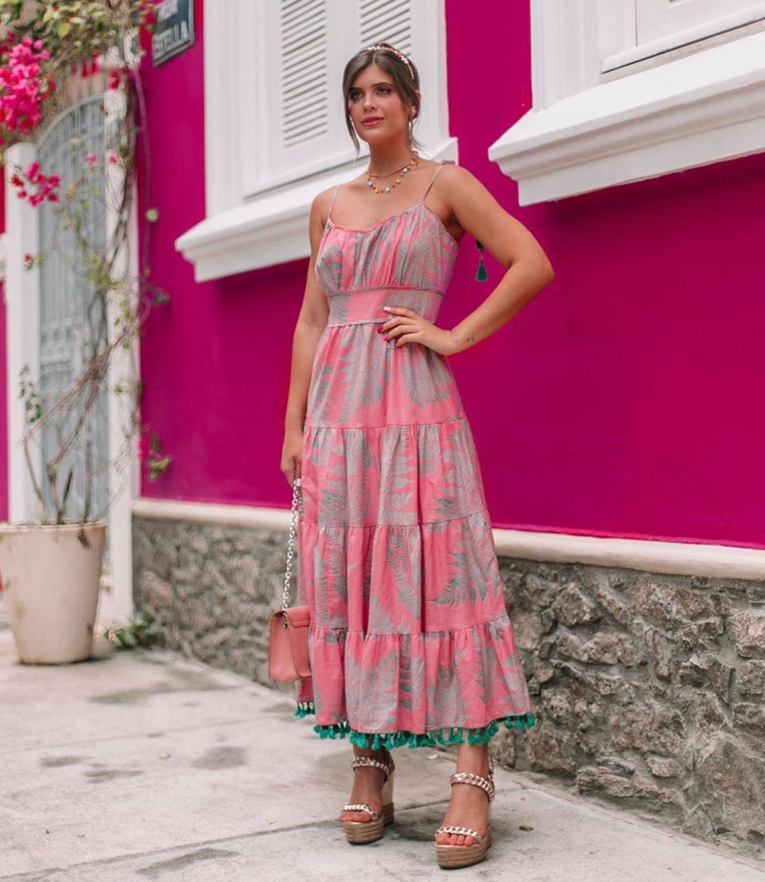 Vestido Daniela  Algodão Folhagem