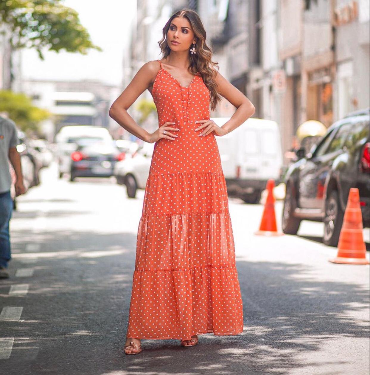 Vestido Daniela Longo Poá Crepe
