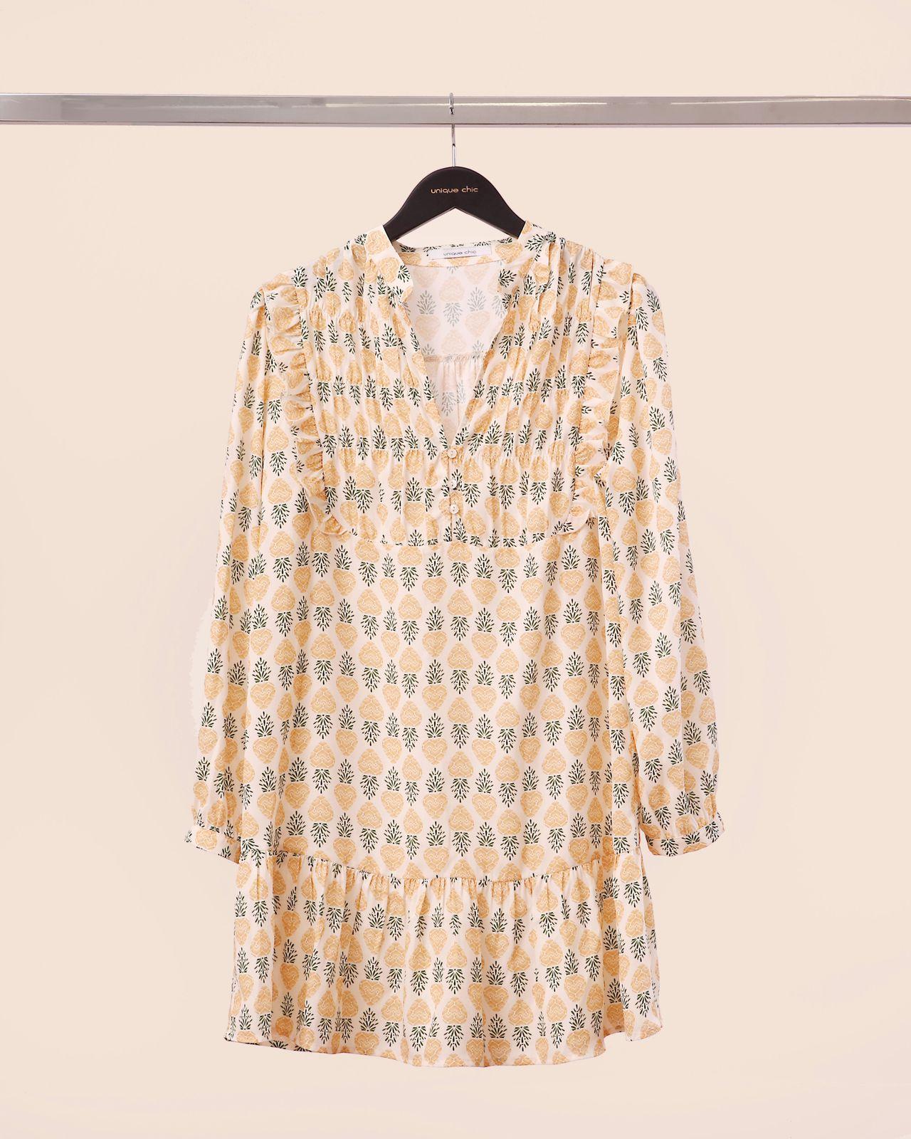 Vestido Debora Crepe Estampado Detalhe Lastex