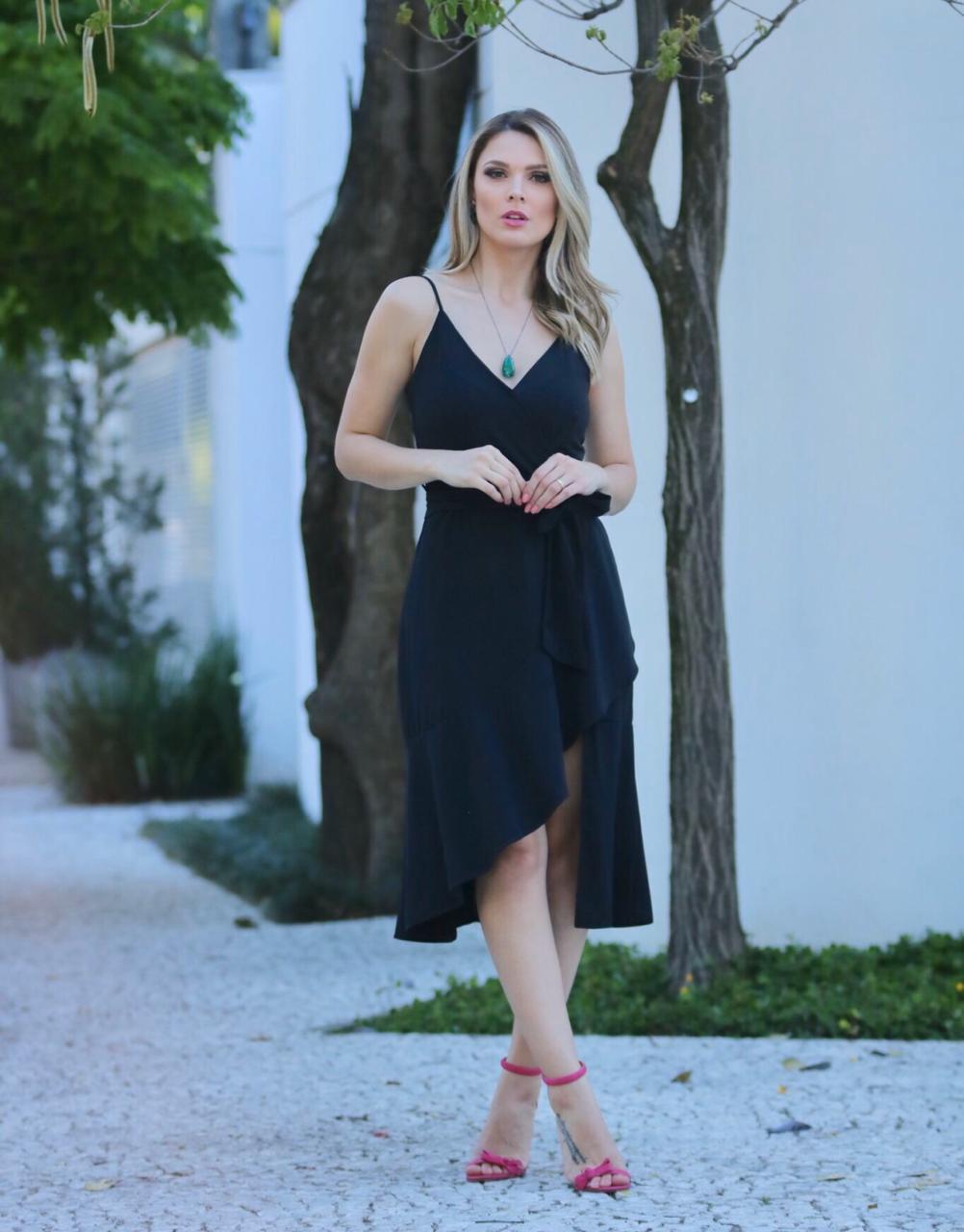 Vestido  Debora  Crepe Transpassado + faixa