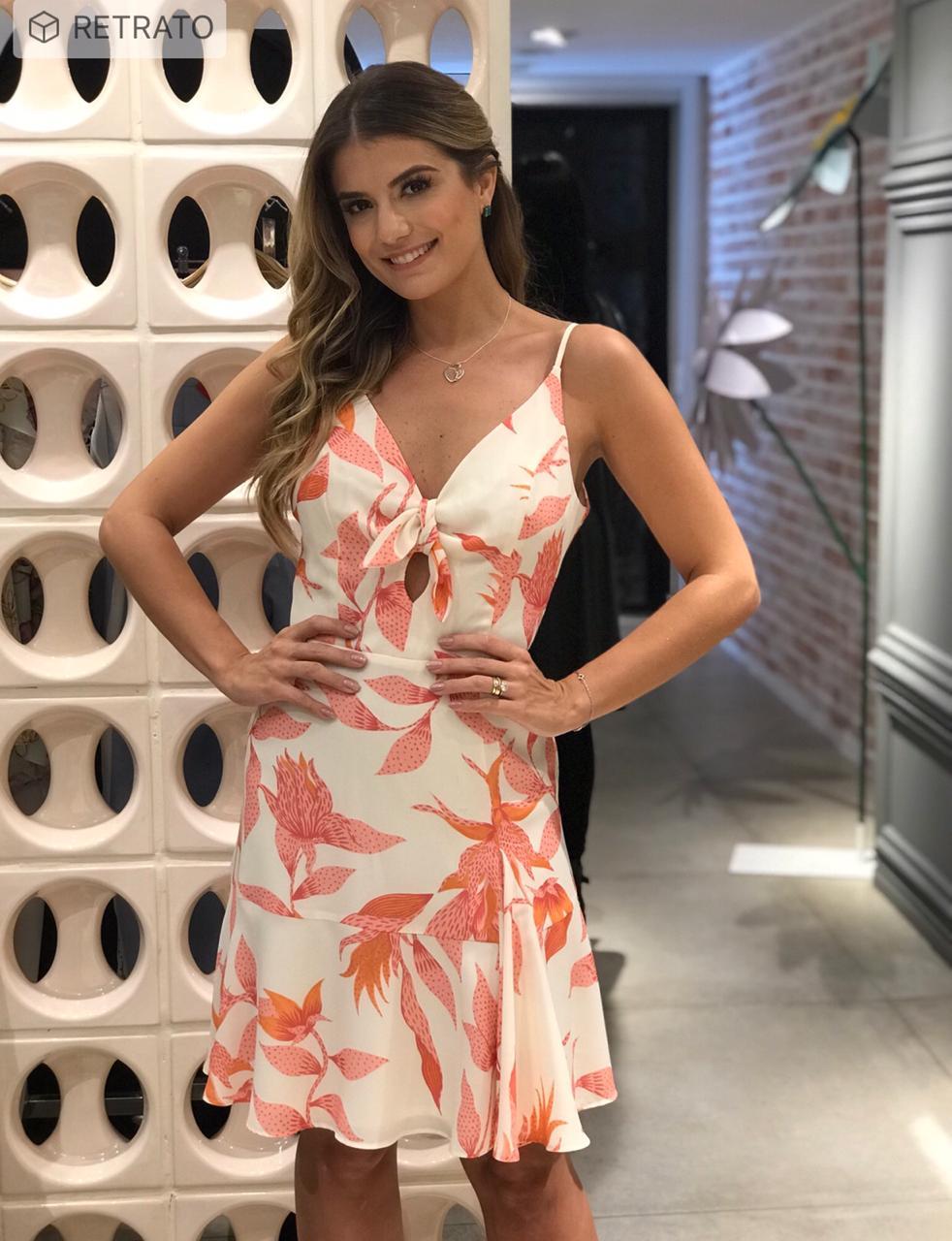 Vestido Denise Crepe Floral Laço (Forrado)