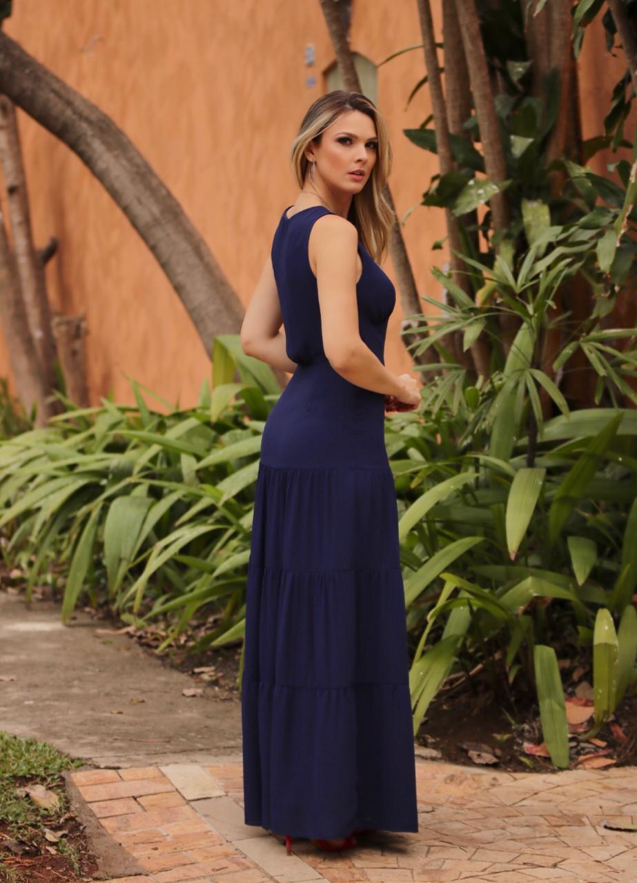 Vestido Diana Crepe Decote Forrado Detalhes Botões Marinho