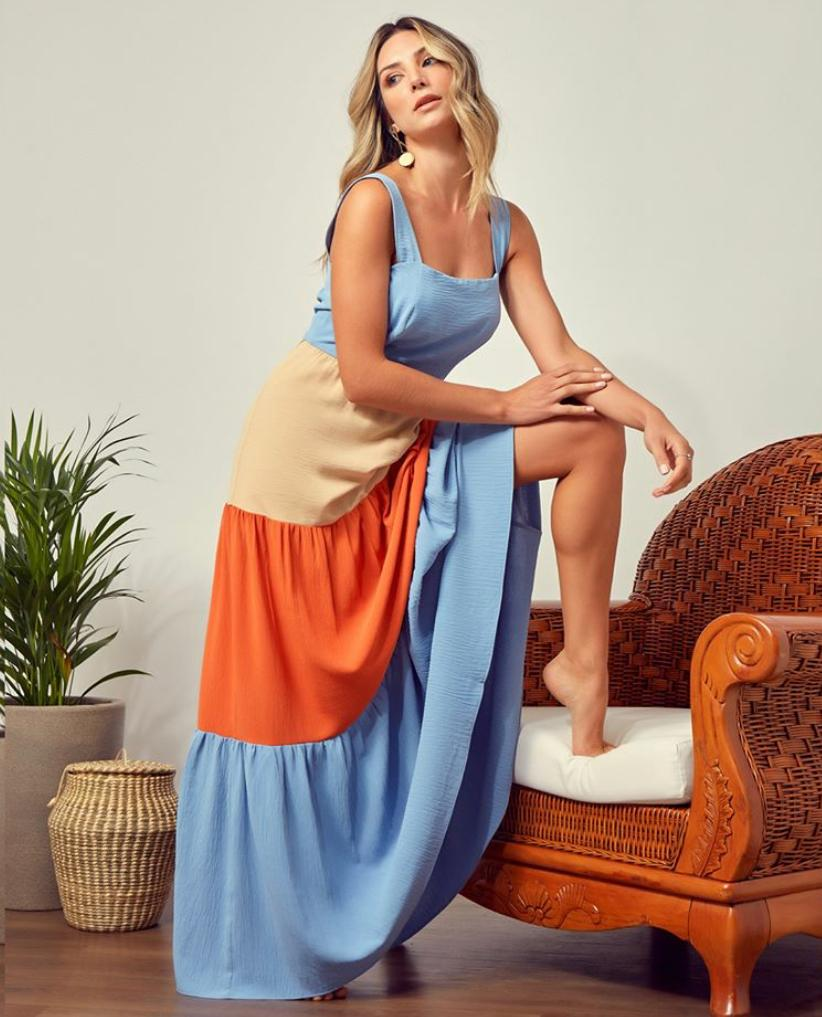 Vestido Diane Tricolor Crepe + Forro