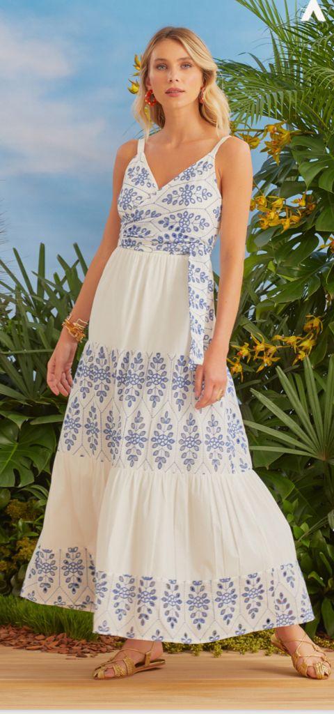 Vestido Donatela Bordado (Forro) Detalhe Amarração 100% Algodão 3% Elastano