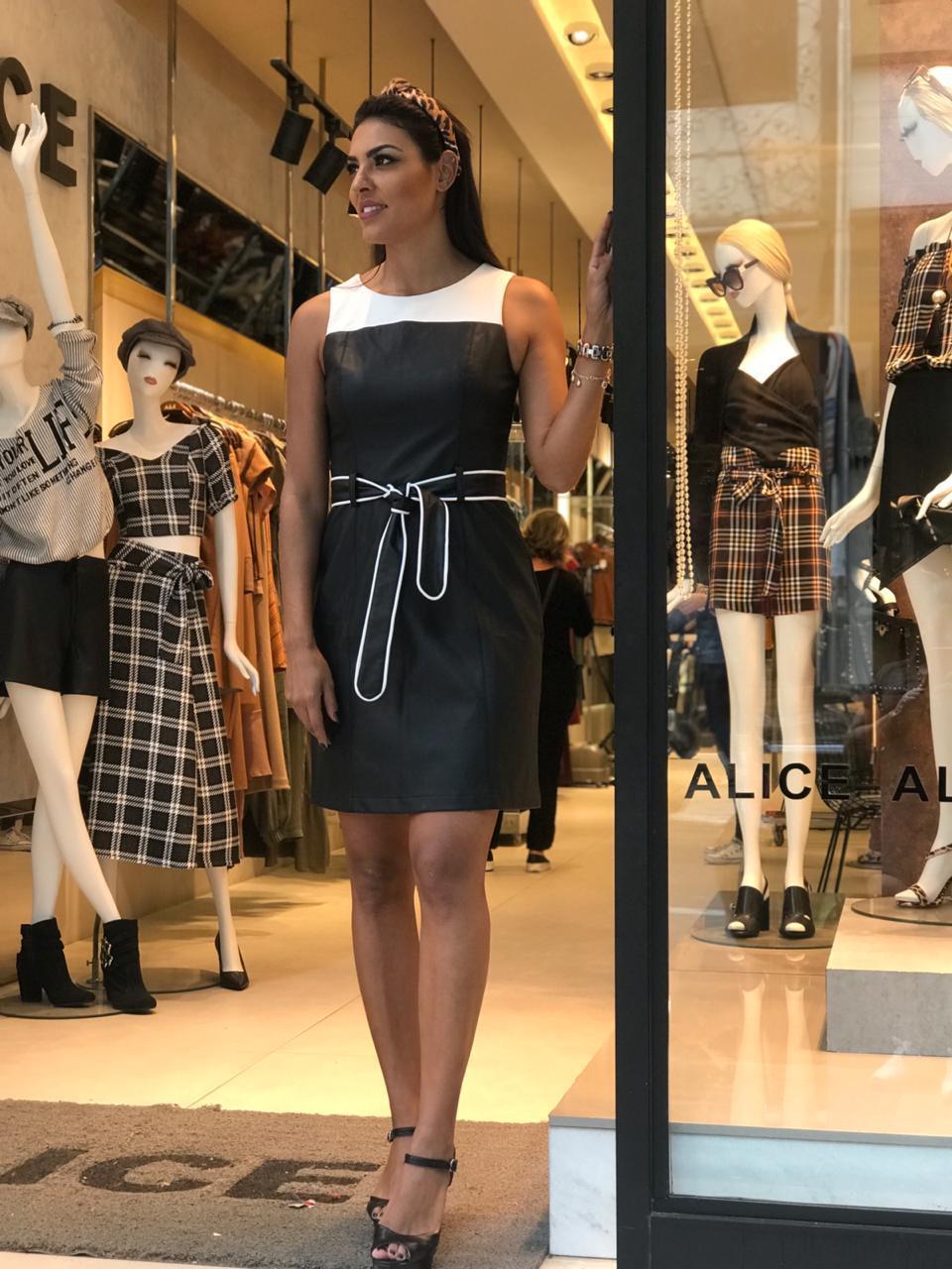 Vestido Dora Couro Bicolor +Cinto