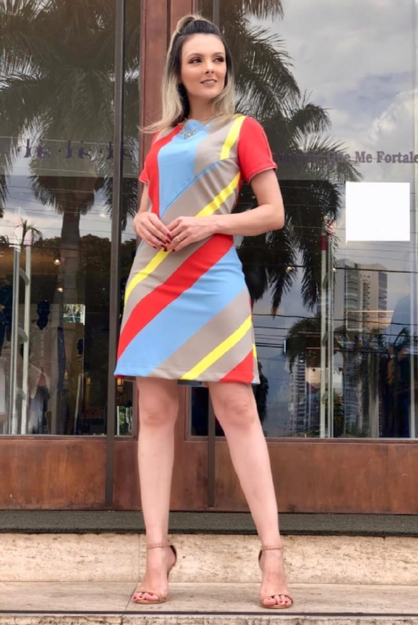 Vestido Eduarda  Listras  Alfaiataria 5%Elastano