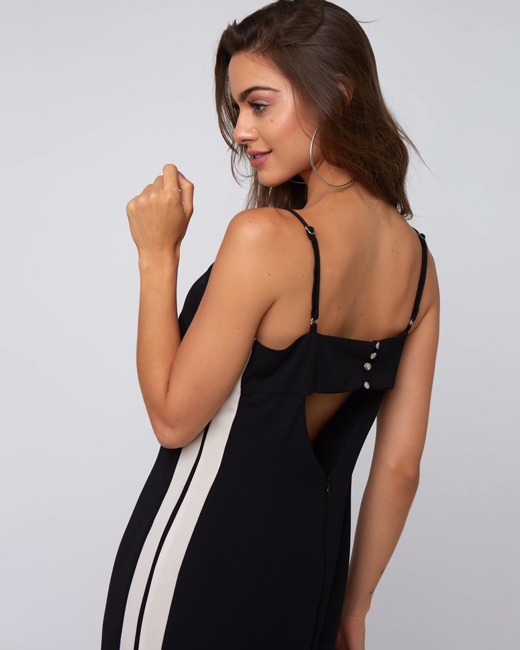 Vestido Elena Crepe Midi Listras Lateral