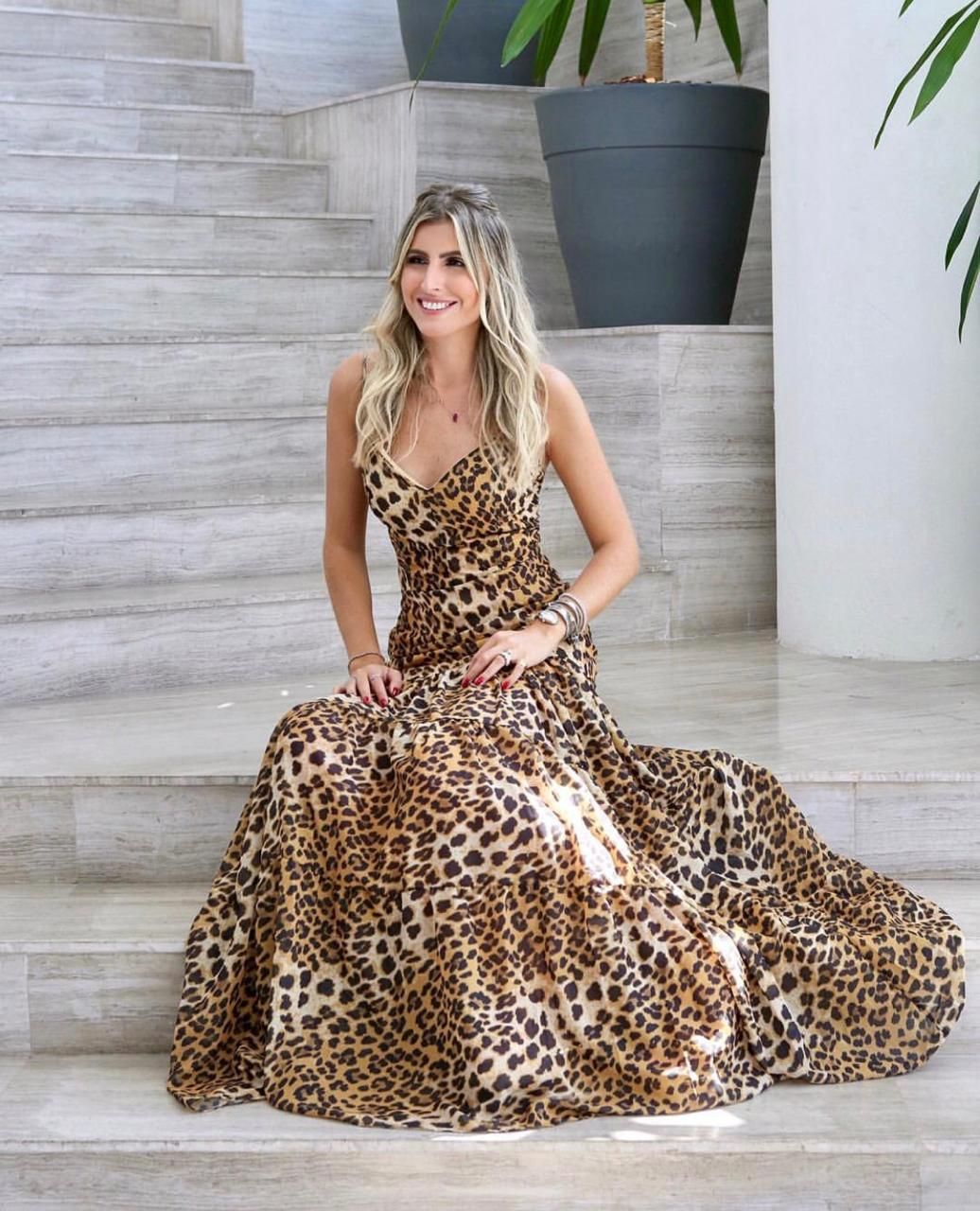 Vestido Eleonora Longo Crepe animalprint