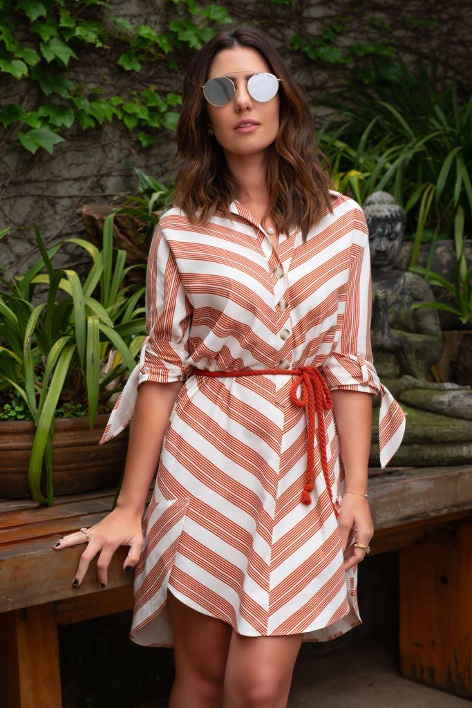 Vestido Eliane Chemise  Linho Listras Cordão (Cinto)