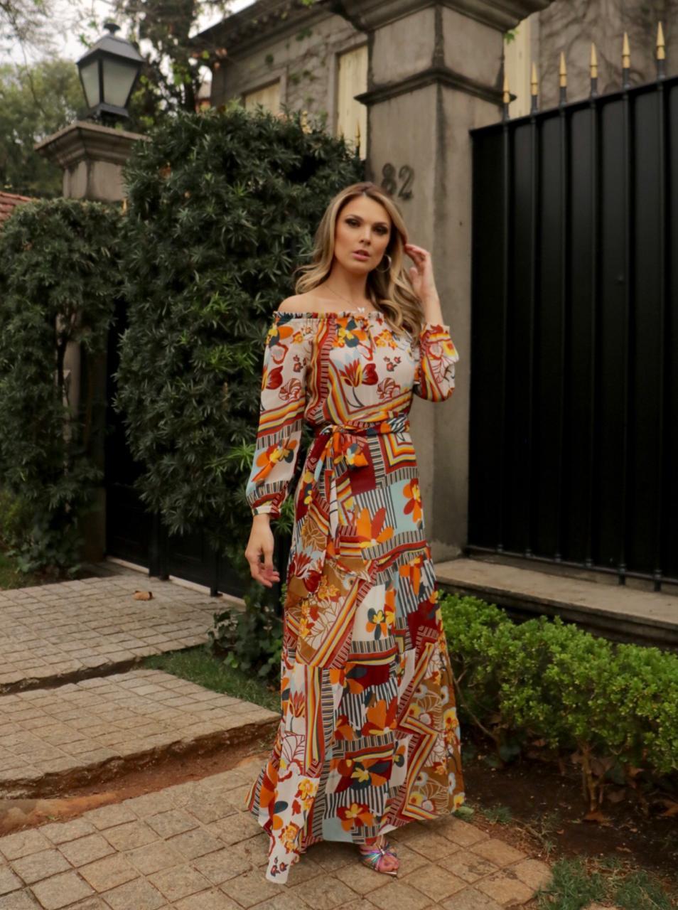 Vestido Elisa Cheroy Chiffon  Longo com Amarração