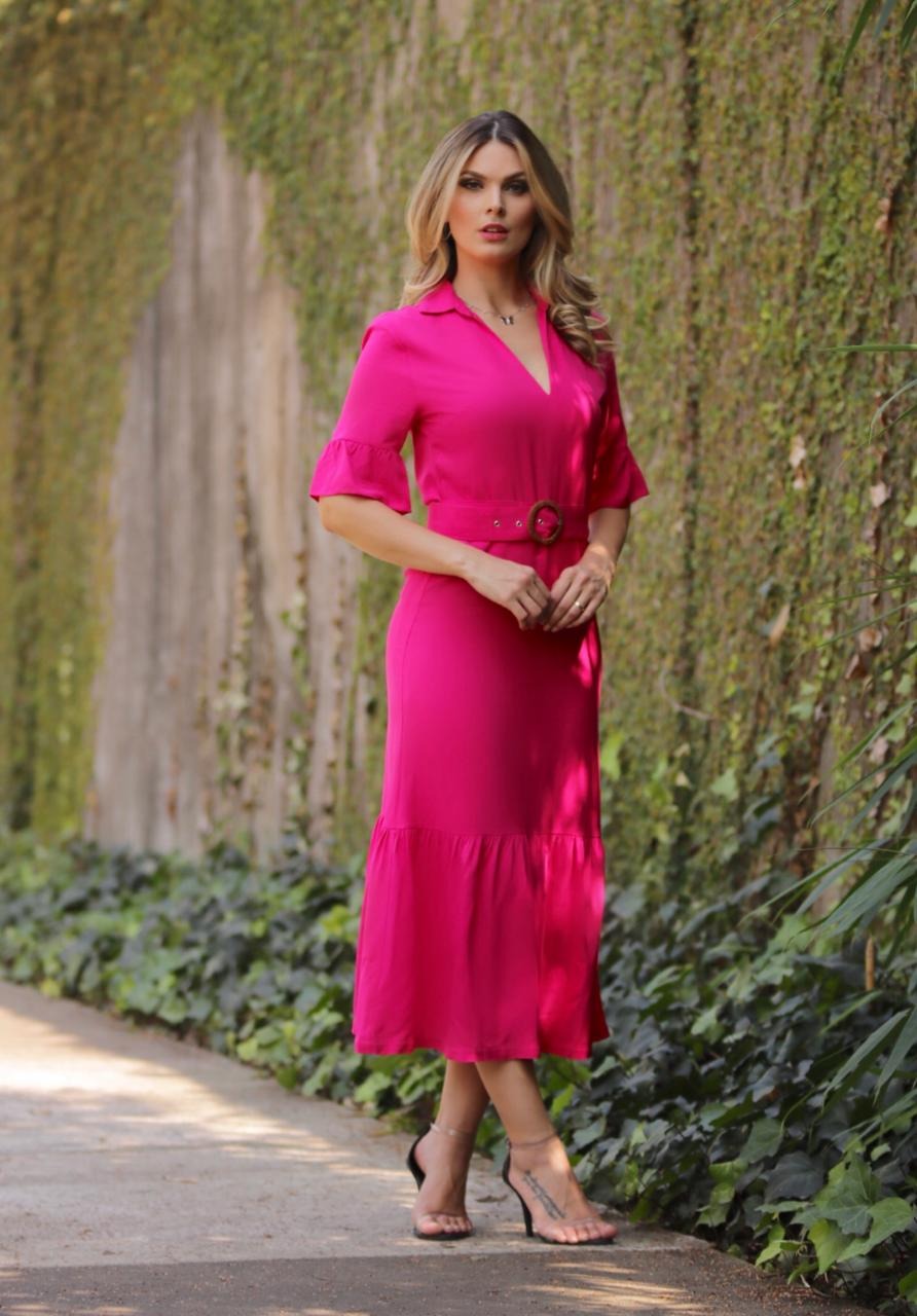 Vestido Emily Cheroy  Viscose  Clark +Cinto