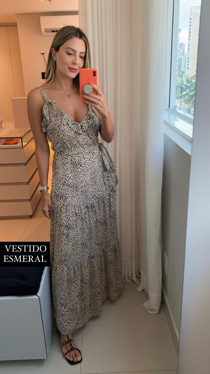 Vestido Esmeral Alça Chiffon