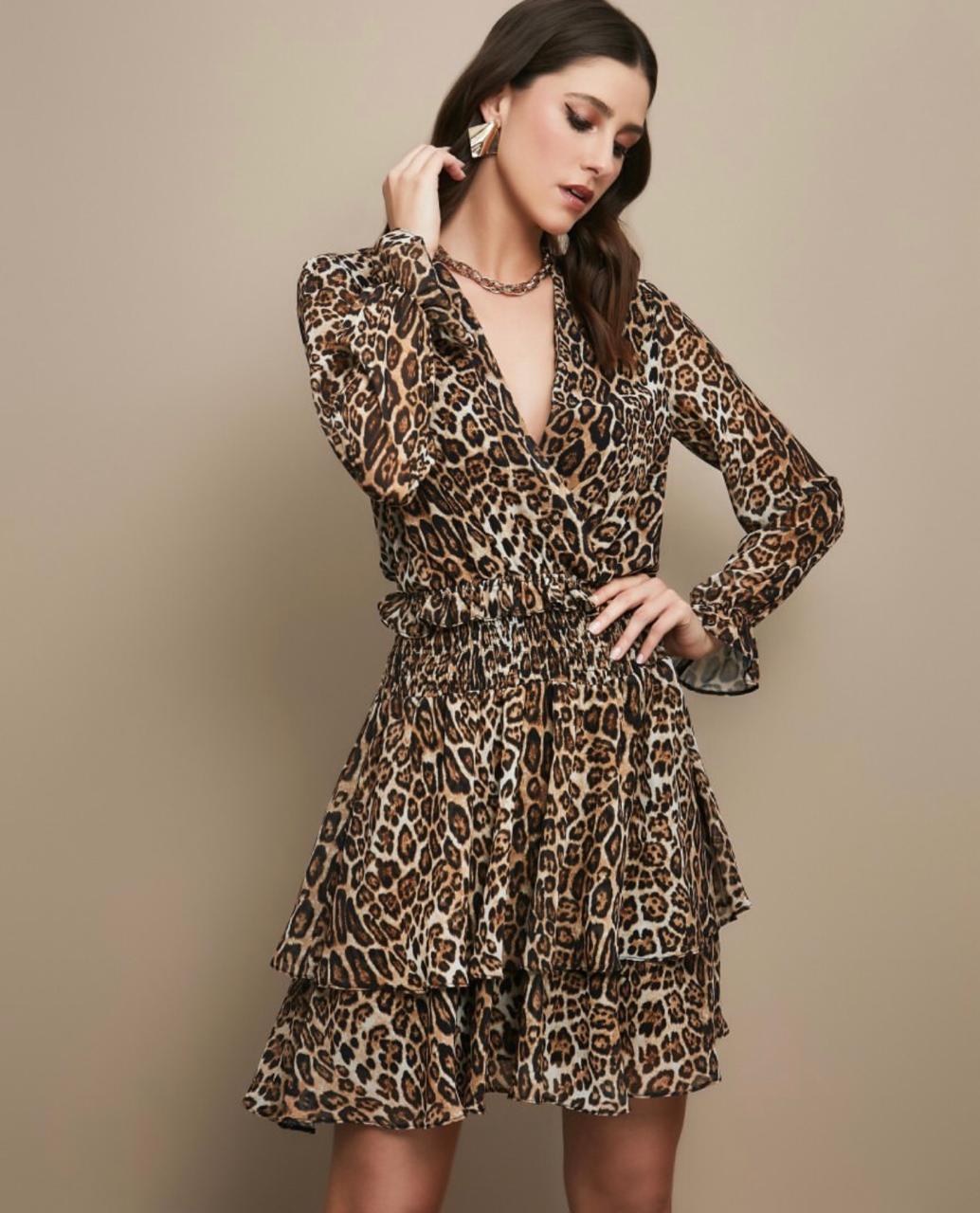 Vestido Esmeral Animalprint Chifon